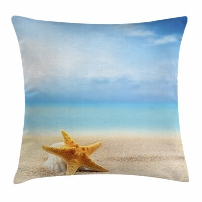 Starfish Decor Scallop Sea Star Square Pillow Cover Size: 24 x 24