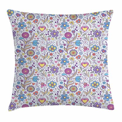 Pastel Doodle Botany Garden Square Pillow Cover Size: 20 x 20