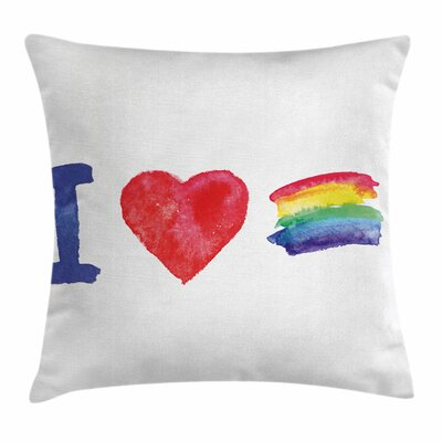 Rainbow I Heart Pride Artwork Square Pillow Cover Size: 18 x 18