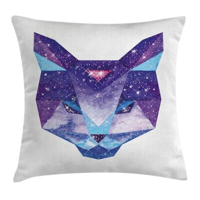 Space Cat Star Clusters Head Square Pillow Cover Size: 18 x 18