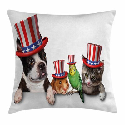 Fourth of July American Pets Square Pillow Cover Size: 24 x 24