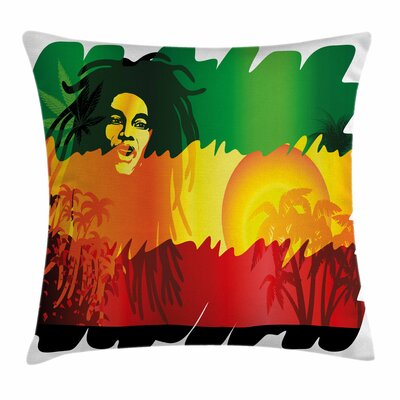 Rasta Reggae Music Singer Icon Square Pillow Cover Size: 16 x 16