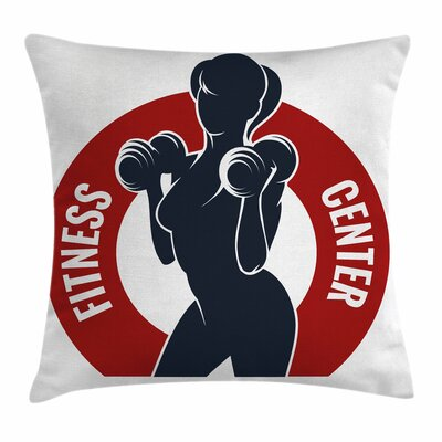 Fitness Fit Woman Silhouette Square Pillow Cover Size: 18 x 18