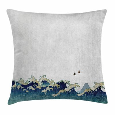 Japanese Wave Aquatic Swirls Square Pillow Cover Size: 16 x 16