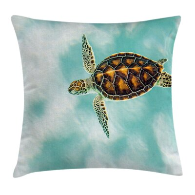 Sea Cute Endangered Baby Turtle Square Pillow Cover Size: 16 x 16