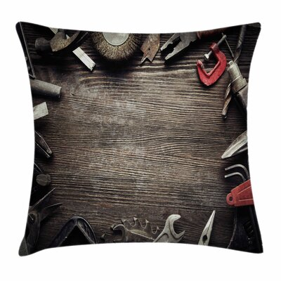 Grungy Tools Square Pillow Cover Size: 16 x 16