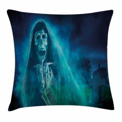 Halloween Decor Gothic Ghost Square Pillow Cover Size: 24 x 24