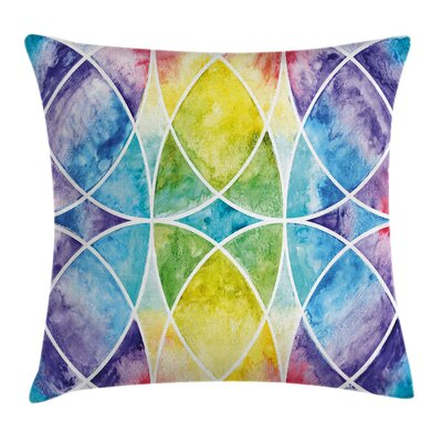 Ombre Rainbow Grunge Square Pillow Cover Size: 16 x 16