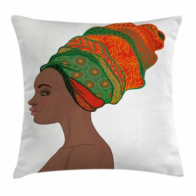 African Woman Young Afro Beauty Square Pillow Cover Size: 16 x 16