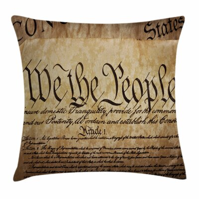 United States Constitution Text Square Pillow Cover Size: 16 x 16