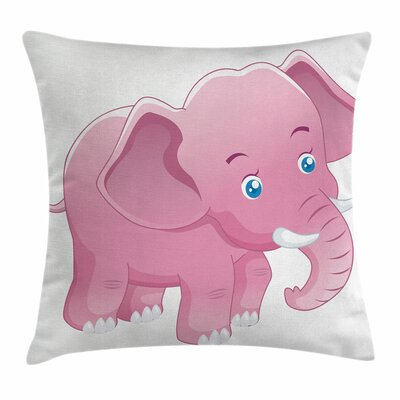 Elephant Toddler Tusk Square Pillow Cover Size: 16 x 16