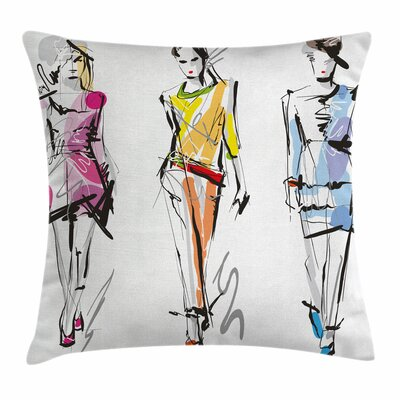 Teen Room Decor Fashion Models Square Pillow Cover Size: 18 x 18
