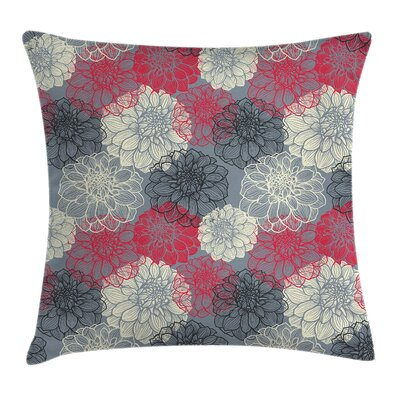 Flower Hand Drawn Floral Art Square Pillow Cover Size: 16 x 16