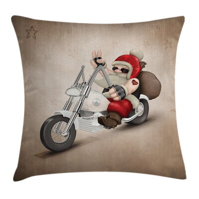Christmas Cool Santa on Motor Square Pillow Cover Size: 20 x 20