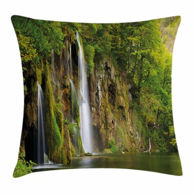 Nature Majestic Waterfall River Square Pillow Cover Size: 24 x 24