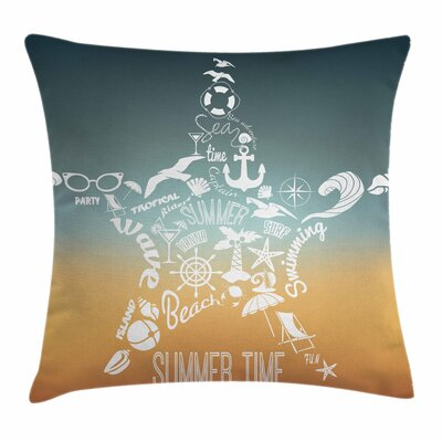 Starfish Decor Summer Icons Square Pillow Cover Size: 16 x 16