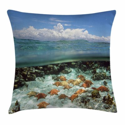 Starfish Decor Sky Clouds Sea Square Pillow Cover Size: 18 x 18
