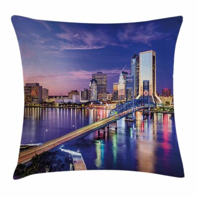 United States Jacksonville City Square Pillow Cover Size: 18 x 18