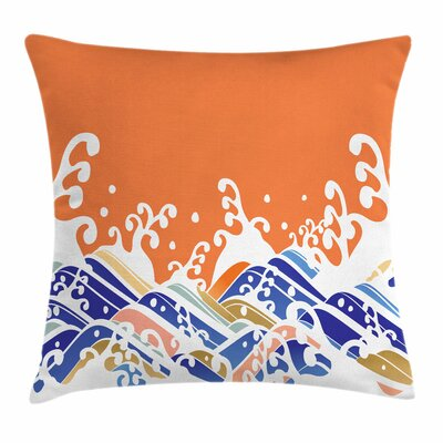 Japanese Wave Vibrant Spindrift Square Pillow Cover Size: 16