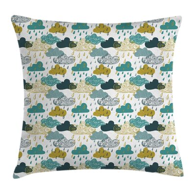 Rainy Clouds Square Pillow Cover Size: 16 x 16