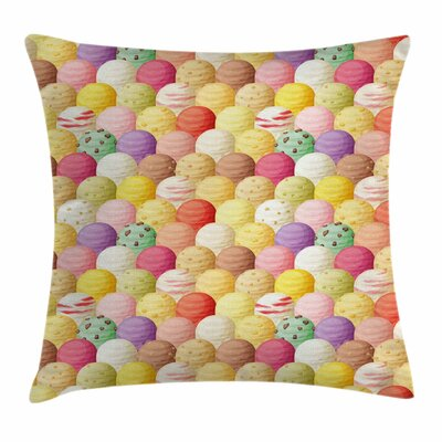 Ice Cream Flavor Toppings Square Pillow Cover Size: 18 x 18