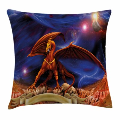 Dragon Dragon Knight Cosmos Square Pillow Cover Size: 18 x 18