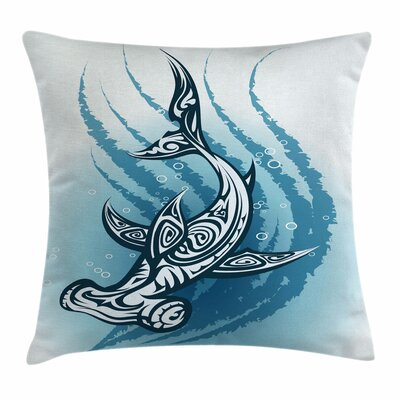 Shark Hammerhead Fish Ornate Square Pillow Cover Size: 16 x 16