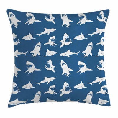 Shark Various Gestures Humorous Square Pillow Cover Size: 18 x 18