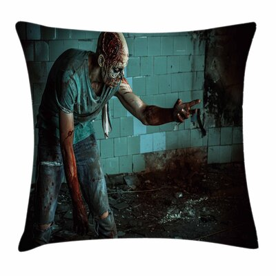 Zombie Decor Bloody Nightmare Square Pillow Cover Size: 16 x 16