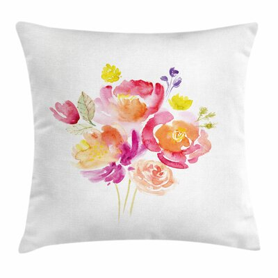 Pastel Watercolor Rose Bouquet Square Pillow Cover Size: 18 x 18