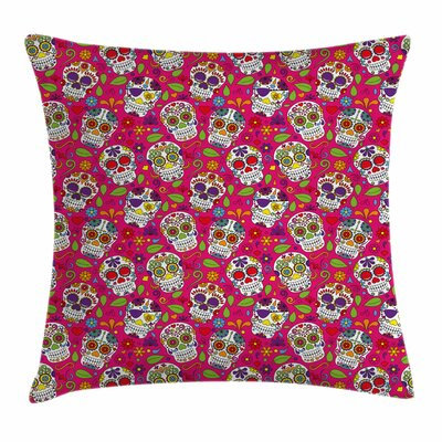Sugar Skull Festive Square Pillow Cover Size: 16 x 16