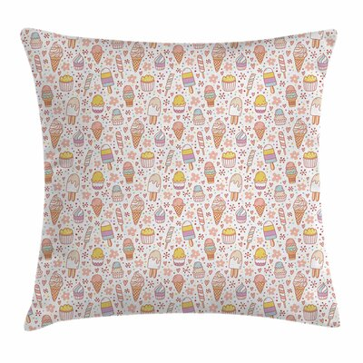 Ice Cream Cute Candies Square Pillow Cover Size: 24 x 24
