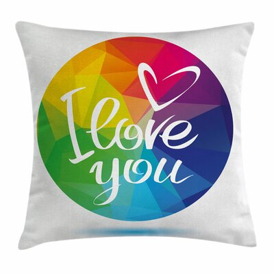 Round Frame Romance Square Pillow Cover Size: 18 x 18