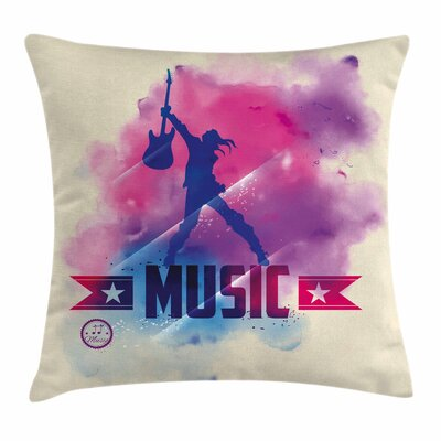 Teen Room Decor Rock Music Star Square Pillow Cover Size: 18 x 18