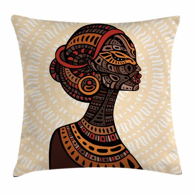 African Woman Portrait Folk Art Square Pillow Cover Size: 24 x 24