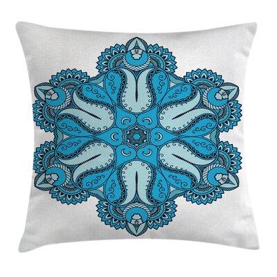 Fabric Ancient Mehndi Mandala Square Pillow Cover Size: 24 x 24