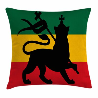 Rasta Judah Lion Reggae Flag Square Pillow Cover Size: 16 x 16