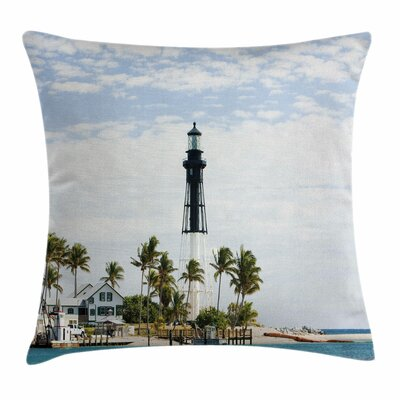 United States Lighthouse Palms Square Pillow Cover Size: 16 x 16