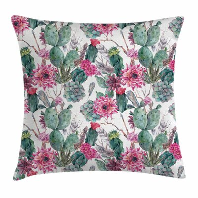 Cactus Spring Blooms Boho Square Pillow Cover Size: 18