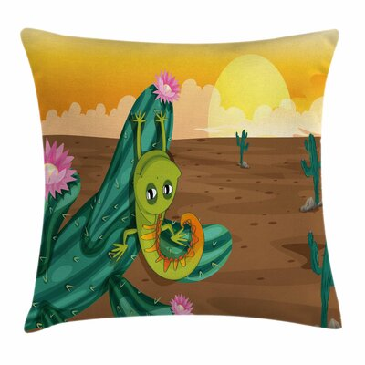 Cactus Cartoon Desert Square Pillow Cover Size: 18 x 18