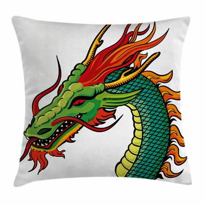 Dragon Monster Portrait Fantasy Square Pillow Cover Size: 24 x 24