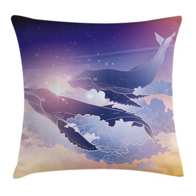 Whale Dreamy Night with Clouds Square Pillow Cover Size: 16 x 16