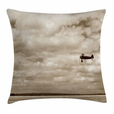 Vintage Airplane Fighter Plane Square Pillow Cover Size: 18 x 18