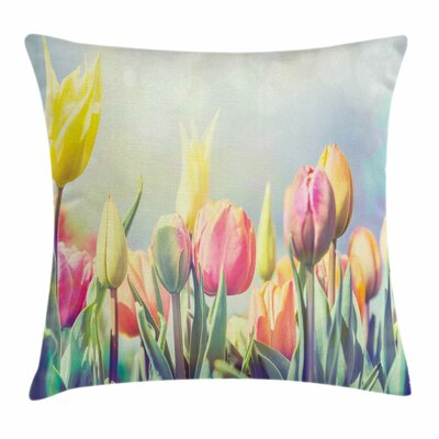 Pastel Tulips Flower Bed Park Square Pillow Cover Size: 16 x 16