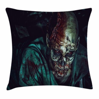 Zombie Decor Fearful Vampire Square Pillow Cover Size: 18 x 18