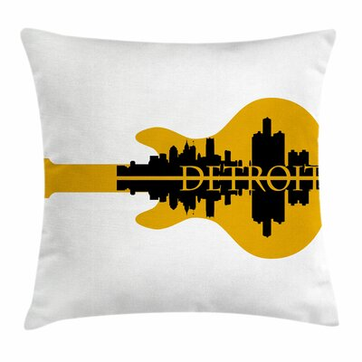 Detroit Decor Electric Guitar Square Pillow Cover Size: 18 x 18