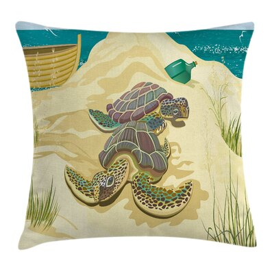 Sea Turtles Sand Boat Square Pillow Cover Size: 16 x 16