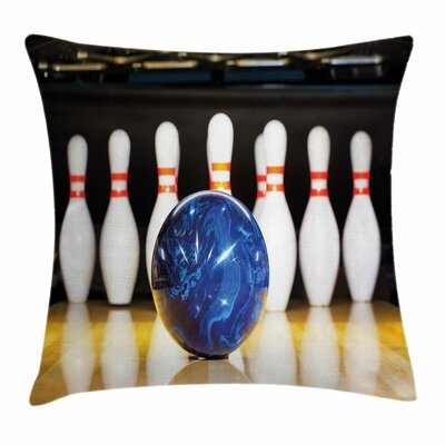 Bowling Party Ball on Lane Square Pillow Cover Size: 18 x 18