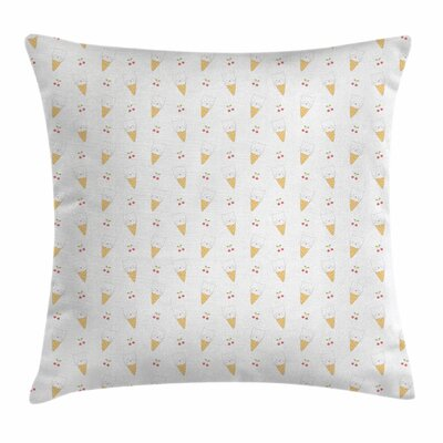 Ice Cream Kitty Cones Square Pillow Cover Size: 18 x 18