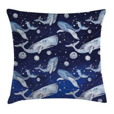 Outer Space Whale Planet Cosmos Square Pillow Cover Size: 16 x 16